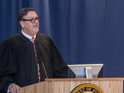 Judge Whitney addresses the audience