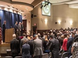 Pastor Blanton opens ceremony with prayer