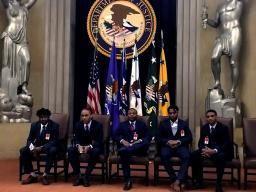 High school students from Communities in Schools of Atlanta in the Great Hall, Main Justice Building.