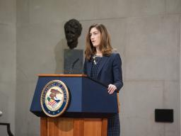 "Associate Attorney General Rachel Brand delivers the opening remarks to her summit on human trafficking, discussing the Department of Justice's dedication to helping victims and combating this ""modern-day slavery"""