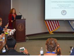 U.S. Attorney Maria Chapa Lopez welcomes attendees
