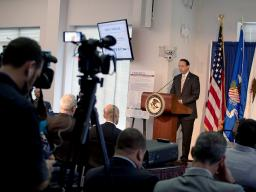 Deputy Attorney General Rod J. Rosenstein delivers remarks for the release of the new fentanyl safety video for first responders.