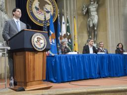 Acting Associate Attorney General Jesse Panuccio introduces a panel on the path forward moderated by Katie Brenner, New York Times, with Emily M. Dickens, Corporate Secretary & Chief of Staff, Society for Human Resource Management (formerly Senior Vice President and General Counsel, Thurgood Marshall College Fund; Assistant Vice President for Federal Relations, University of North Carolina System); Heather Heying, Author, Evolutionary Biologist, Professor in Exile (formerly Professor at Evergreen State College); Vincent Phillip Muñoz, Tocqueville Associate Professor of Religion & Public Life, University of Notre Dame; and Amy Wax, Robert Mundheim Professor of Law, University of Pennsylvania Law School