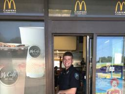 Gulfport PD engaging citizens in the drive-thru lane.