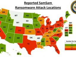 Reported SamSam Ransomware Attack locations