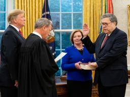 President Donald J. Trump participated in the swearing-in of Mr. Barr during a ceremony in the Oval Office of the White House, where U.S. Supreme Court Chief Justice John Roberts administered the oath of office.