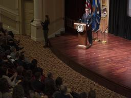 Photo of Principal Deputy Assistant Attorney General Matt Dummermuth at the podium