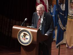Photo of Former Attorney General Edwin Meese at the podium