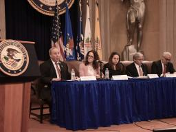 """Claire McCusker Murray, Principal Deputy Associate Attorney General, moderates a panel title, """"Anti-Semitism on Campus."""" Panelists include: Jonathan Tobin, Editor-in-Chief, Jewish News Syndicate; Alyza Lewin, President, The Louis D. Brandeis Center for Human Rights Under Law; William Jacobson, Clinical Professor of Law and Director of the Securities Law Clinic, Cornell Law School; and Charles Small, Director, Institute for the Study of Global Antisemitism and Policy."""