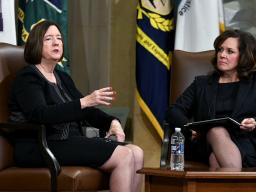 US Attorney Erica MacDonald for the District of Minnesota and Kathleen O'Toole, Retired Commissioner, Boston PD (left), discuss the current social problems impacting law enforcement officers in America.