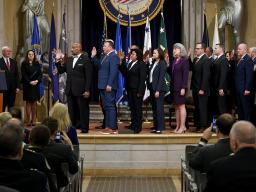 Attorney General Barr swears in commissioners of the President's Commission on Law Enforcement and the Administration of Justice, made up of police chiefs, state prosecutors, county sheriffs, law enforcement, federal agents, U.S. Attorneys and a state attorney general.