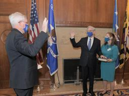 Judge Garland takes his oath of office as the 86th Attorney General of the United States as he is sworn in by Assistant Attorney General for Administration Lee Lofthus.