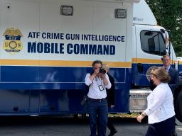 Deputy Attorney General Monaco arrives at the ATF Crime Gun Intelligence Mobile Command Center, which provides investigators with crime gun intelligence information in a mobile office environment, and can process evidence from crimes in as little of two hours. This facility on wheels is equipped with four rooms and six workstations with the ability to accommodate up to 16 people working comfortably.