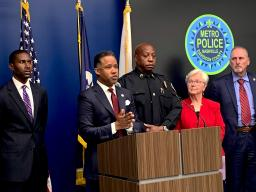 Assistant Attorney General Kenneth A. Polite Jr. joins federal, state and local law enforcement partners to announce federal racketeering charges against nine members of MS-13.