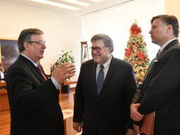 Foreign Minister Marcelo Ebrard Casaubon, Attorney General Barr and U.S. Ambassador Landau