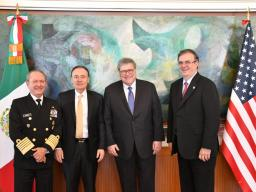 Secretary of the Navy Admiral Jose Rafael Ojeda Duran, Security Minister Alfonso Durazo Montaño, Attorney General Barr and Foreign Minister Marcelo Ebrard Casaubon