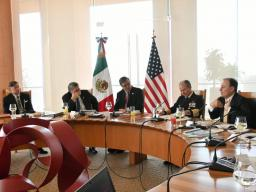 US Ambassador Landau, Attorney General Barr, Foreign Minister Marcelo Ebrard Casaubon, Secretary of the Navy Admiral Jose Rafael Ojeda Duran and Security Minister Alfonso Durazo Montaño