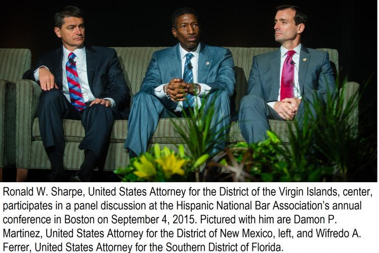 Ronald W. Sharpe, US Attorney for VI, Damon P. Martinez, US Attorney for NM, left, and Wifredo A. Ferrer, US Attorney for FLS""