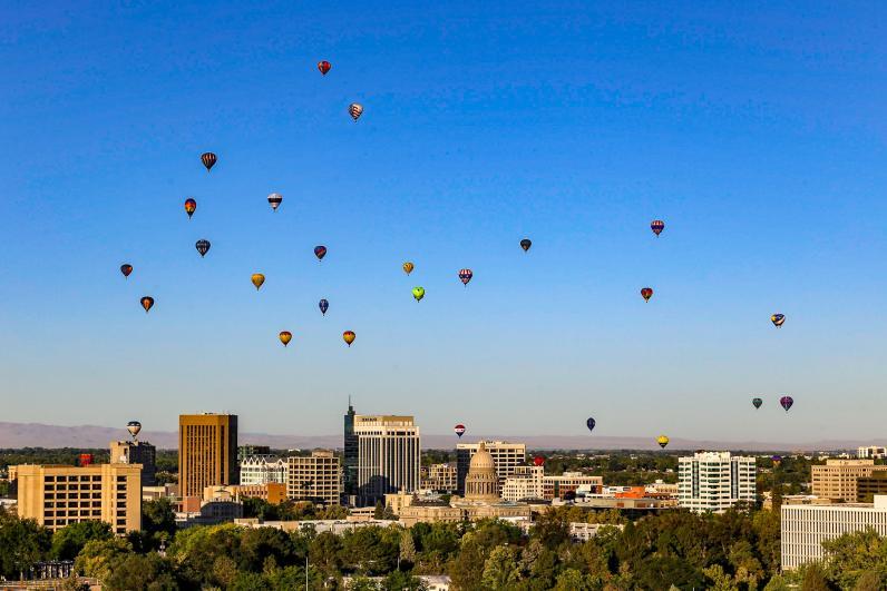 Hot air balloon launch over Boise