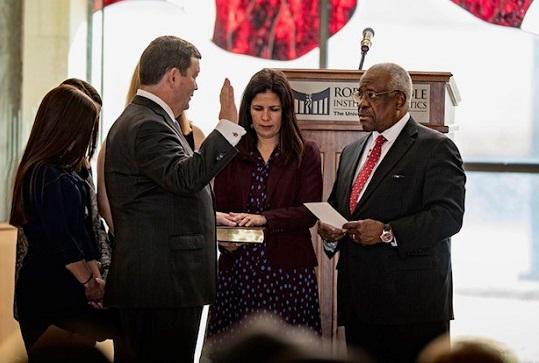 USA Stephen R. McAllister is sworn by Justice Clarence Thomas