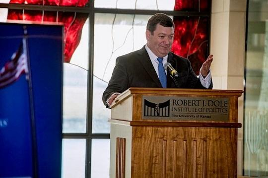 USA Stephen R. McAllister speaks during swearing in ceremony