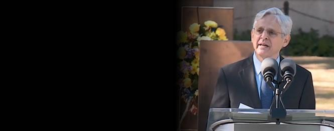 Attorney General Merrick B. Garland at podium