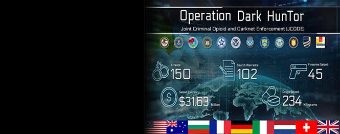 International Law Enforcement Operation Targeting Opioid Traffickers on the Darknet Results in 150 Arrests Worldwide and the Seizure of Weapons, Drugs, and over $31 Million