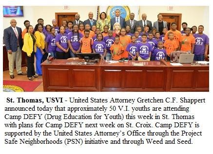Virgin Islands U.S. Attorney's Office and Project Safe Neighborhoods Sponsor Camp DEFY: VI Youth Meet with the Legislature of the Virgin Islands