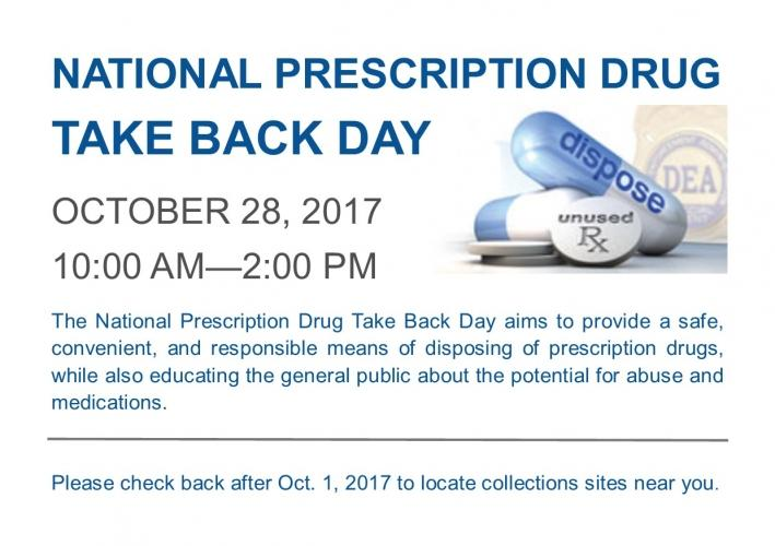 National Prescription Drug Take Back Day - October 28, 2017 10am-2pm