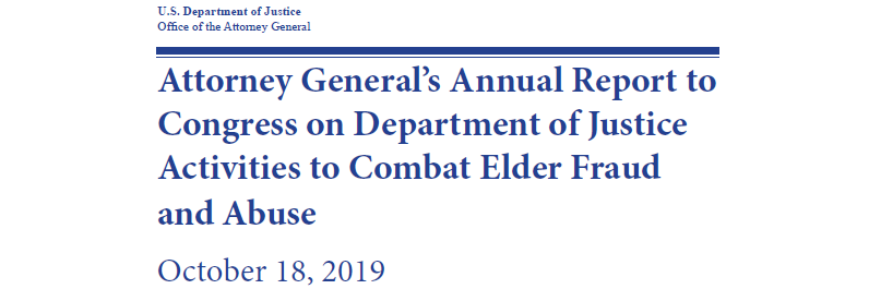Attorney General's Annual Report to Congress on Department of Justice Activities to Combat Elder Fraud and Abuse