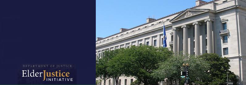 DOJ Building and Banner for Upcoming Elder Justice Initiative Webinar