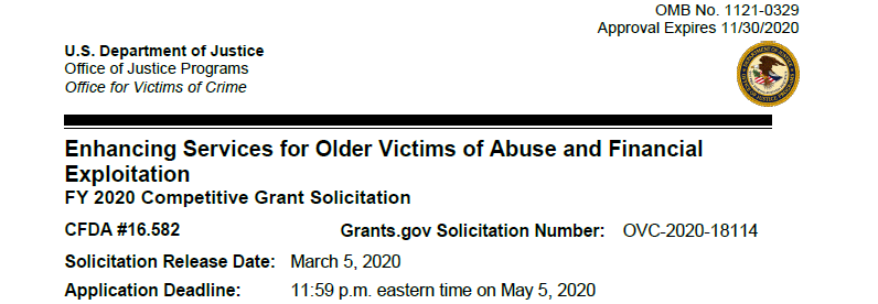 """OMB Solicitation for """"Enhancing Services for Older Victims of Abuse and Financial Exploitation"""""""