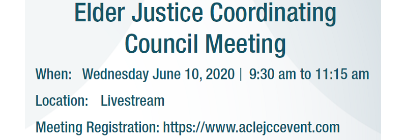 Elder Justice Coordinating Council Meeting on June 10, 2020