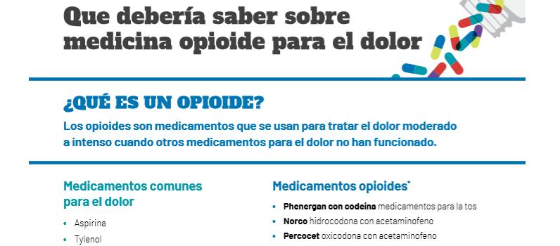 Que debería saber sobre medicina opioide para el dolor