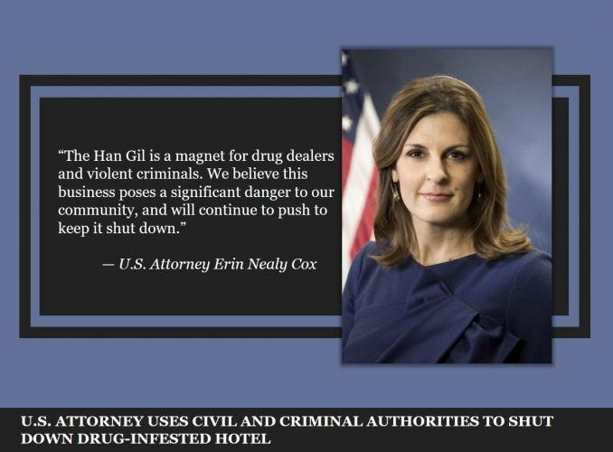 U.S. Attorney Uses Civil & Criminal Authorities to Shut Down Drug-Infested Hotel