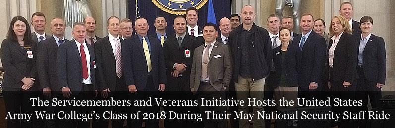 The Servicemembers and Veterans Initiative Hosts the United States Army War College's Class of 2018 During Their May National Security Staff Ride