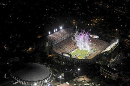 LSU Stadium at night