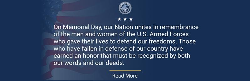 Department of Justice Civil Rights Division Observes Memorial Day