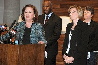 U.S. Attorney Tammy Dickinson, FBI SAC Eric Jackson, Jackson County Prosecutor Jean Peters Baker, KCPD Deputy Chief Cheryl Rose