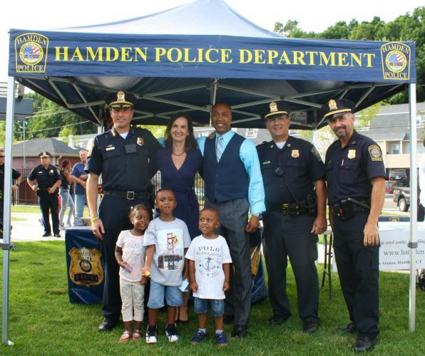 """U.S. Attorney Daly and Hamden Police celebrating National Night Out on August 2, 2016"