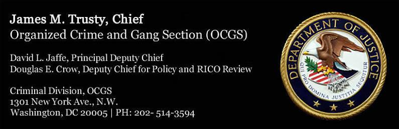 Organized Crime and Gang Section (OCGS) - James M Trusty, Chief