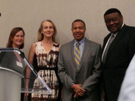 USA McQuade with author Piper Kernan, DPD Chief Craig, Dep. Mayor McKinnon