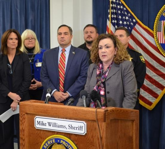 USA Chapa Lopez joins law enforcement partners for Human Trafficking Awareness Month.