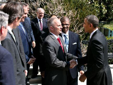 President Obama and USA Walt Green shake hands