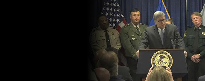 Barr at podium with Acting Director Regina Lombardo, Bureau of Alcohol, Tobacco, Firearms and Explosives, U.S. Attorney D. Michael Dunavant for the Western District of Tennessee and Memphis Police Director Michael Rallings