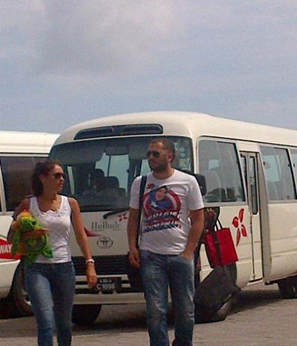 Seleznev and Girlfriend in Maldives Bus