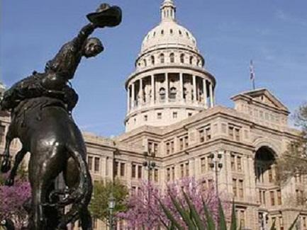 Texas Capital in Austin with statue in foreground