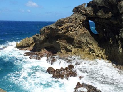 Arecibo, Puerto Rico which borders the Atlantic Ocean