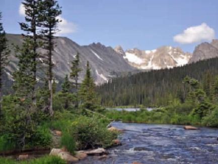 Picture of river flowing through the Rocky Mountains in Colorado