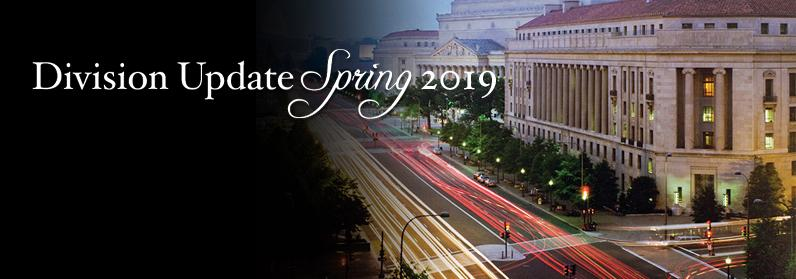 Division Spring Update 2019 – time lapse photo of the Main Justice building and Pennsylvania Avenue.